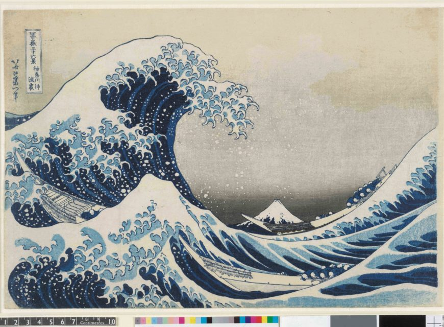 Under the wave off Kanagawa (The Great Wave) from Thirty-six views of Mt Fuji. Colour woodblock, 1831. Acquisition supported by the Art Fund. © The Trustees of the British Museum. On display from 25 May - 13 August.