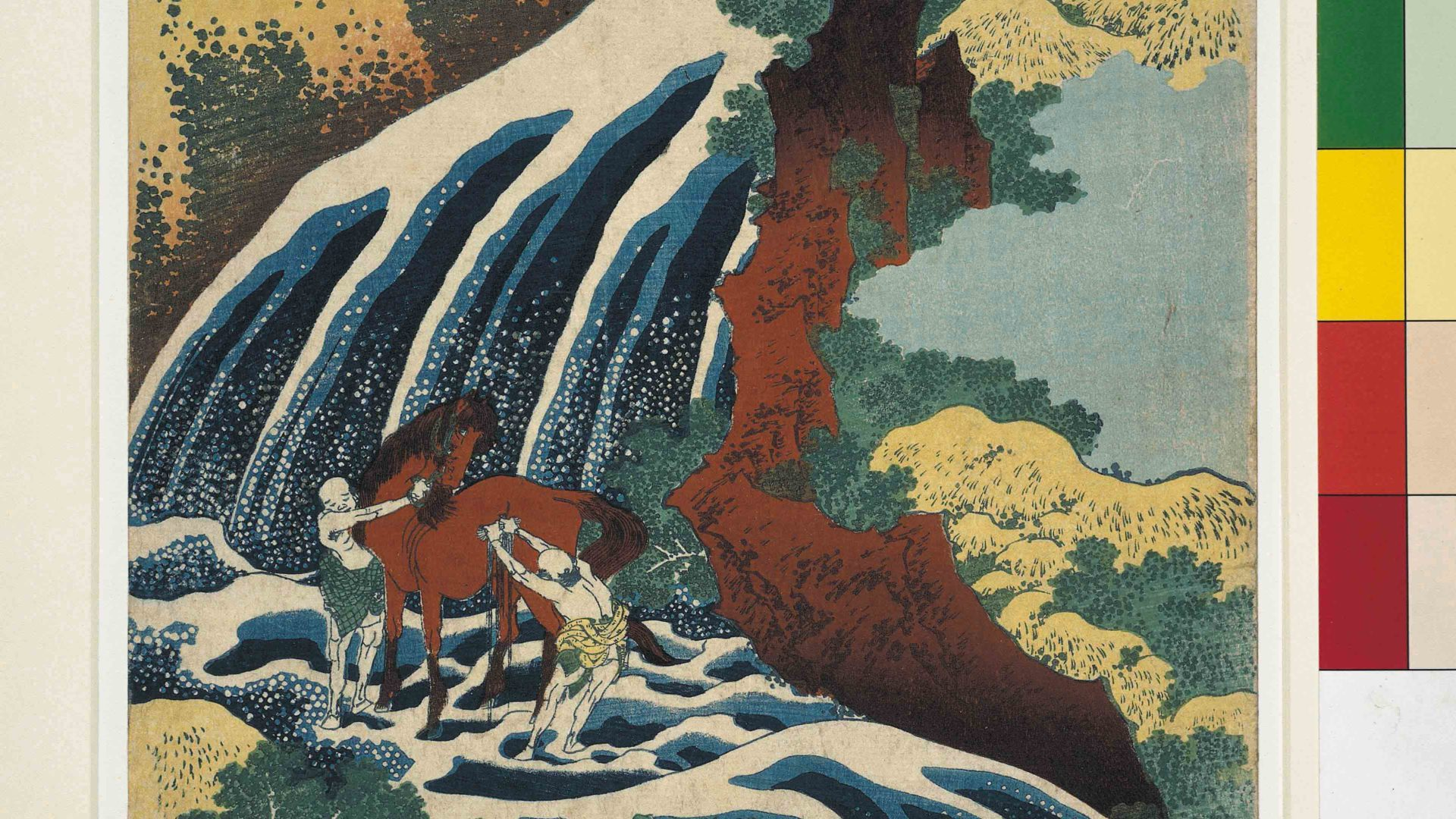 The waterfall where Yoshitsune washed his horse in Yoshino, Yamato province from Tour of Waterfalls in Various Provinces. Colour woodblock, 1833. Bequeathed by Charles Shannon RA. © The Trustees of the British Museum. On display from 7 July - 13 August.