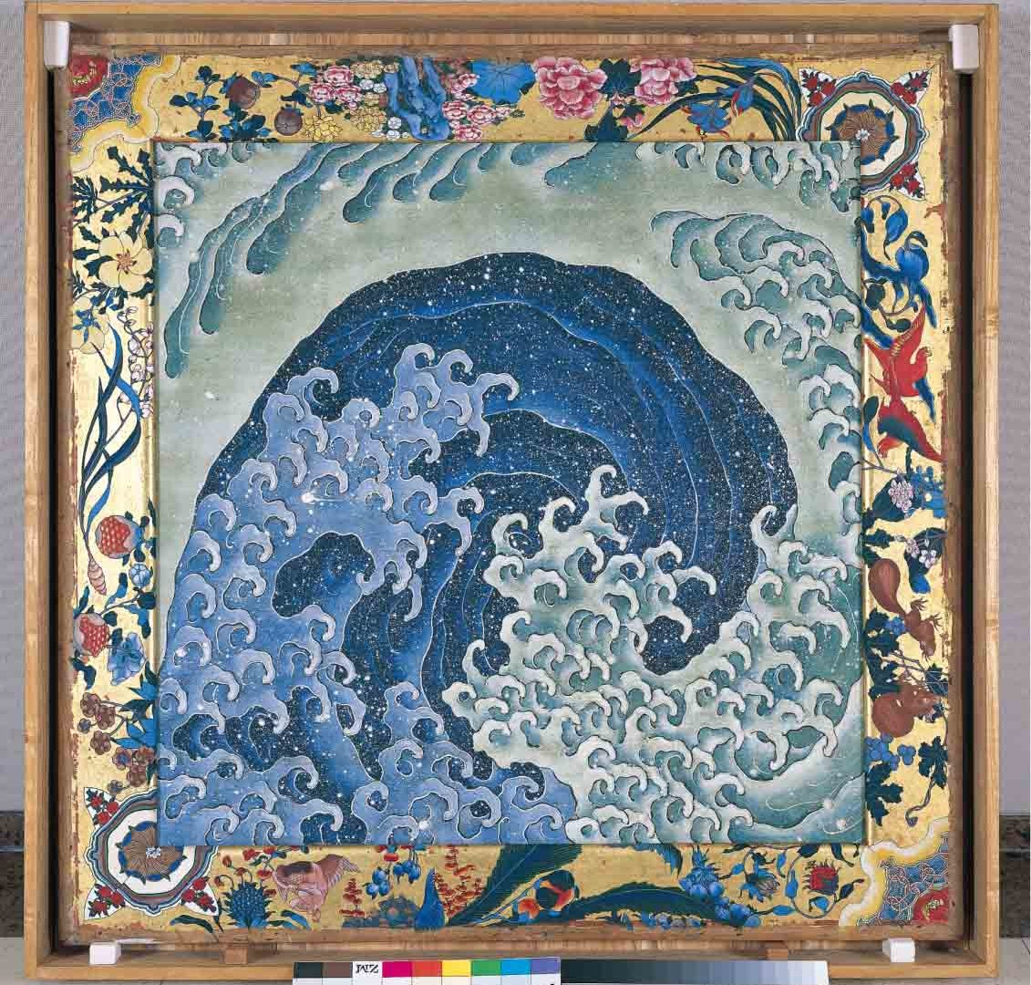 Attributed to Hokusai, with frame paintings completed by Takai Kōzan (1806–1883). Waves. Two ceiling panels for a festival cart, ink and colour on paulownia wood, 1845. Kanmachi Neighbourhood Council, Obuse, Nagano Prefectural Treasure. On display from 25 May - 13 August.