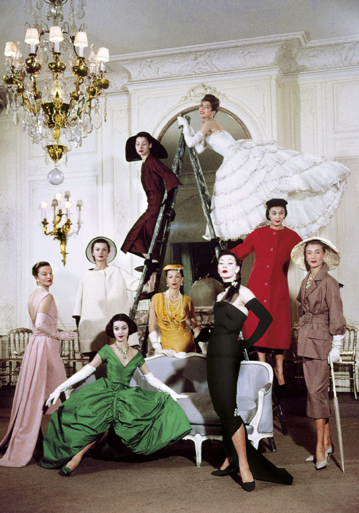 Models posing in new Christian Dior collection / (Photo by Loomis Dean//Time Life Pictures/Getty Images)