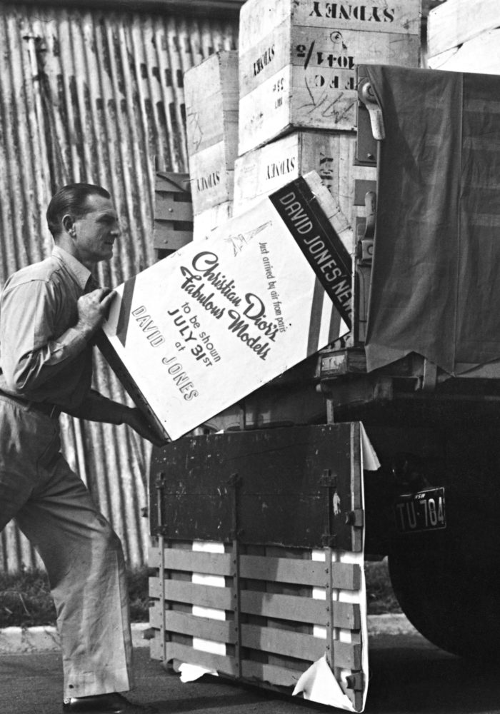 Dior boxes arriving in Sydney for the Christian Dior parade to be shown at David Jones, July–August 1948. Dior Heritage collection, Paris. All rights reserved