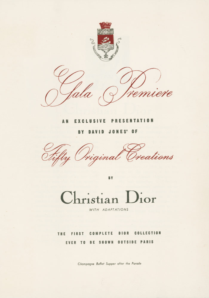 Signage from the Christian Dior parade at David Jones, Sydney, August 1948. Courtesy Christian Dior
