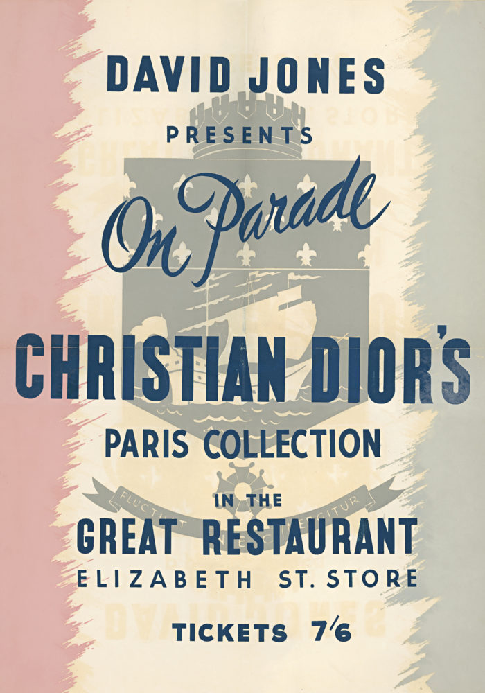 Signage from the Christian Dior parade at David Jones, Sydney, August 1948 Courtesy Christian Dior