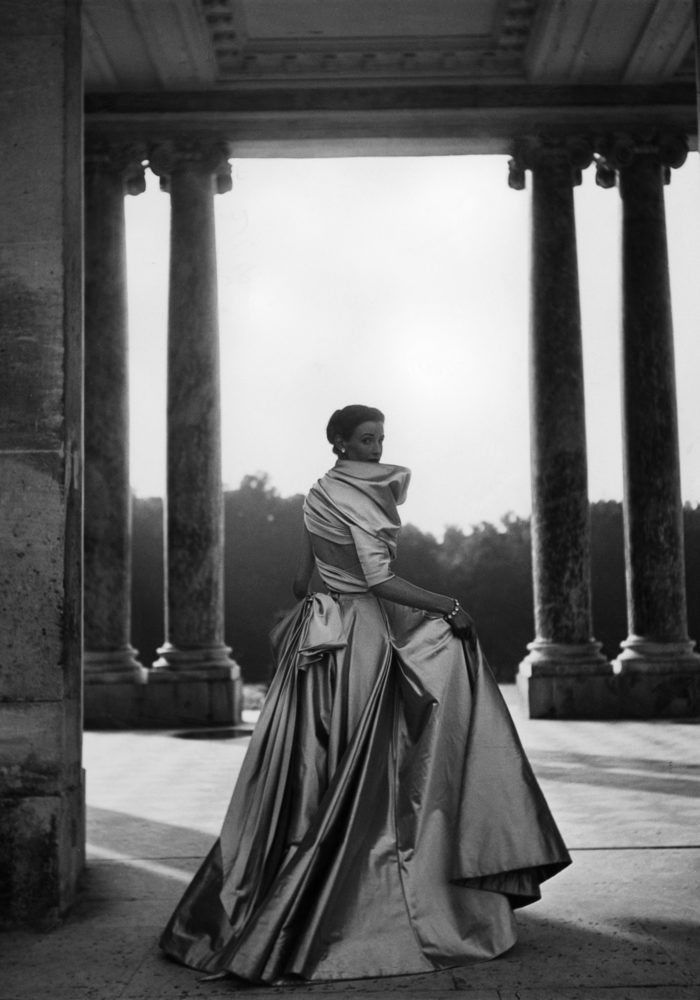 Christian Dior, Paris (fashion house); Christian Dior (designer) Coquette dress, autumn−winter 1948 haute couture collection. Photo © Clifford Coffin/Licensed by Trunk Archive. Model: Wenda Rogerson (Parkinson)