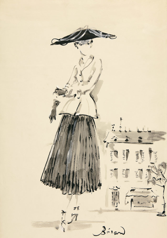 Christian Bérard Illustration of the Bar, afternoon ensemble 1947. Dior Heritage collection, Paris © ADAGP, Paris 2016/Licensed by Viscopy, Sydney