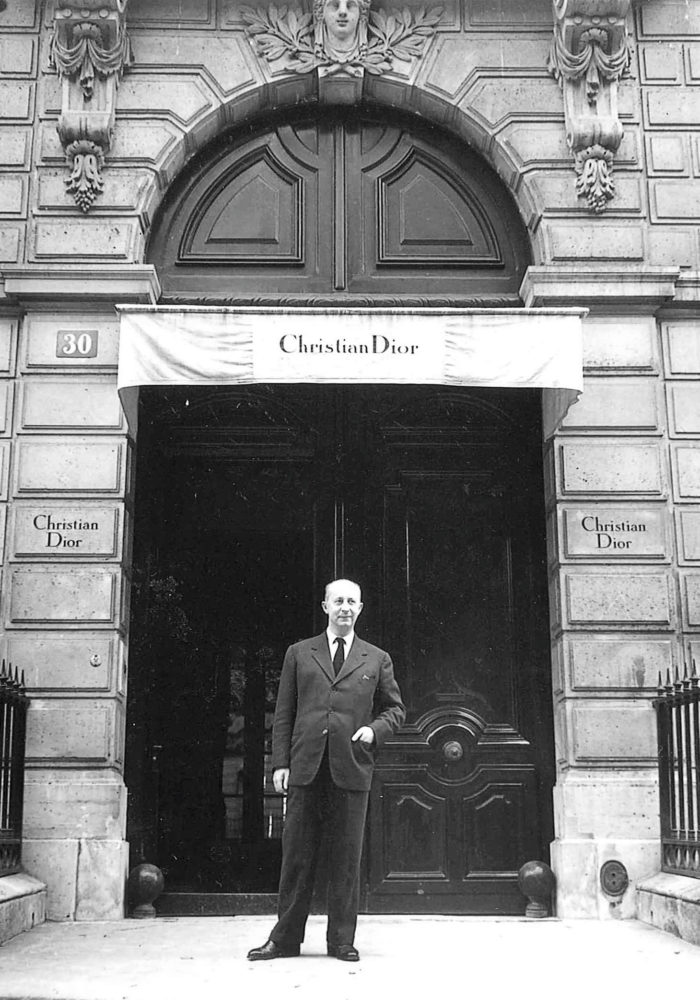 Christian Dior at House of Dior's headquarters, 30 Avenue Montaigne, Paris © Willy Maywald/ADAGP, Paris. Licensed by Viscopy, Sydney