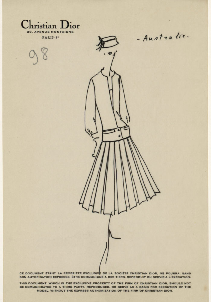 Sketch by Christian Dior for the autumn−winter 1949 haute couture collection © Christian Dior